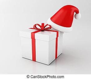 kasten, hut, santa, geschenk, 3d