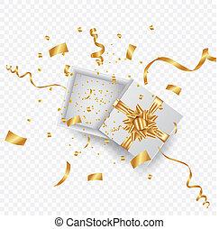 kasten, illustration., geschenk, realistisch, vektor, confetti., gold, rgeöffnete, geschenkband, 3d
