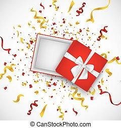kasten, illustration., geschenk, realistisch, vektor, confetti., weißes, rgeöffnete, geschenkband, 3d