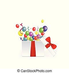kasten, illustration., geschenk, realistisch, vektor, konfetti, überraschung, balls., rgeöffnete, 3d