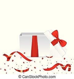 kasten, illustration., geschenk, realistisch, vektor, rotes , confetti., rgeöffnete, geschenkband, 3d