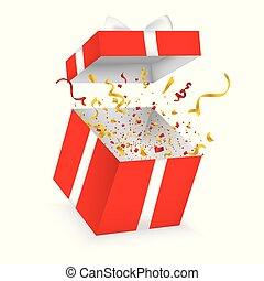 kasten, illustration., geschenk verbeugung, realistisch, vektor, confetti., 3d, geöffnet