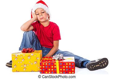 kasten, junge, geschenk, traurige , hut, weihnachten