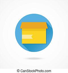 kasten, karton, geöffnet, vektor, ikone