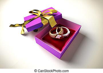 kasten, kostbar, ringe, zwei, geschenk