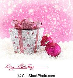 kasten, kugeln, schnee, geschenk, weihnachten