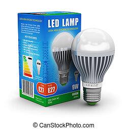 kasten, lampe, leuchtdiode, paket