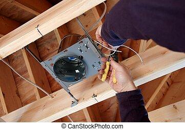 kasten, licht, installieren