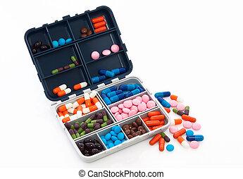 kasten, mit, pille
