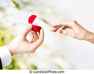 kasten, paar, ring, geschenk, wedding