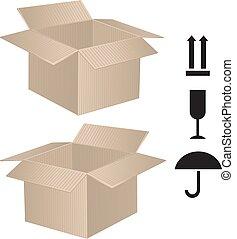 kasten, paket, zeichen