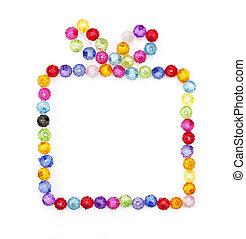 kasten, perlen, gemacht, geschenk, bunte, hintergrund,...