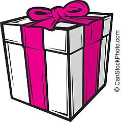 kasten, rosa, weißes band, geschenk