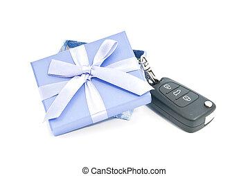 kasten, schlüssel, weißes, geschenk, auto