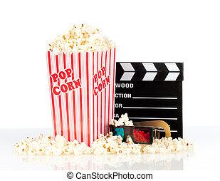 kasten, schwengel, film, brett, popcorn, gläser 3d