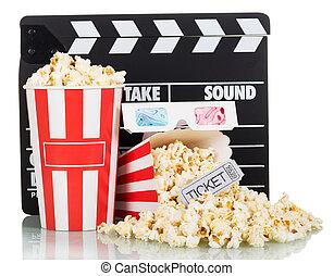 kasten, schwengel, film, brett, popcorn, weißes, gläser 3d
