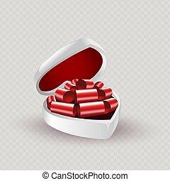 kasten, silhouette, bow., weißes, zusammensetzung, rotes