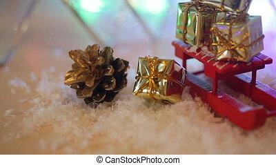 kasten, spielzeug, Schneeflocken, Geschenk, Abstrakt,...