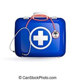 kasten, stethoskop, hintergrund, hilfe, weißes, zuerst