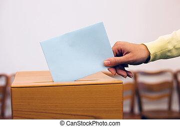 kasten, stimmzettel, stimmzettel, wahl, frauen