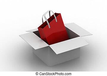 kasten, tasche, shoppen