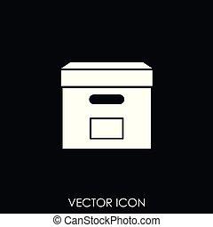 kasten, vektor, ikone