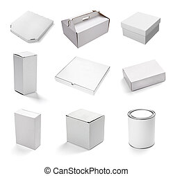 kasten, weißes, behälter, leer