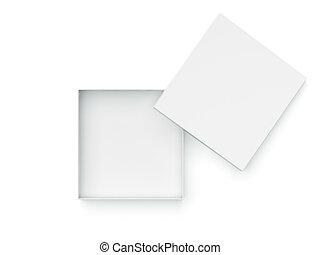 kasten, weißes, geöffnet