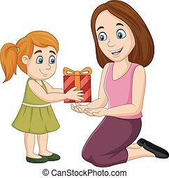 kasten, wenig, sie, geschenk geben, mutter, m�dchen