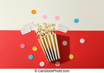 kasten, wohnung, ton, lay., karten, zwei, konfetti, hintergrund, popcorn