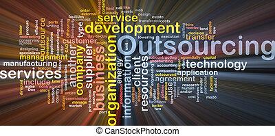 kasten, wort, outsourcing, wolke, paket
