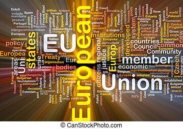 kasten, wort, paket, gewerkschaft, wolke, europäische
