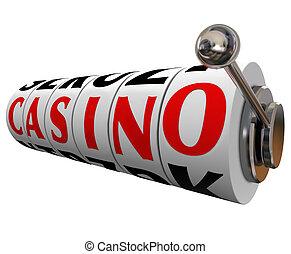 kasyno, słowo, automat, koła, hazard, zakłady