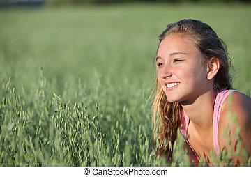 kaszáló, feláll, zab, tizenéves, becsuk, lány mosolyog