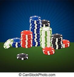 kaszinó, hazárdjátékot játszik kicsorbít, stacks., vektor