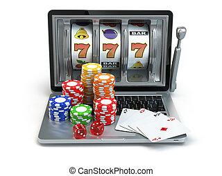 kaszinó, online, fogalom, gambling., laptop, horony gép, noha, dobókocka, és, kártya.