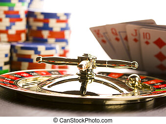 kaszinó, -, rulett, &, játékpénz