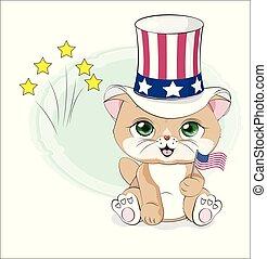 kat, amerika, dag, uafhængighed, glade