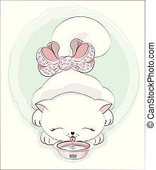 kat, bog, mælk, oloring, drinks