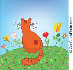kat, buiten, in, de, bloemen, gekke , spotprent