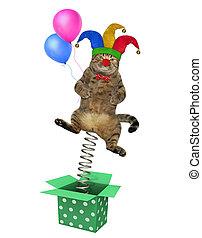 kat, clown, springt, buiten de doos