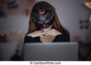 kat, datering, concept., draagbare computer, online, meisje, zittende , misbruiken, jonge, masker