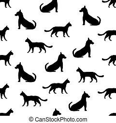 kat, dog, achtergrond, seamless