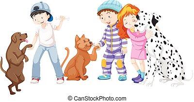 kat, dog, kinderen