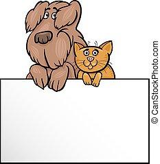 kat, en, dog, met, kaart, spotprent, ontwerp