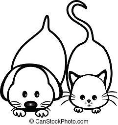 kat, en, dog, silhouettes, logo, ontwerp