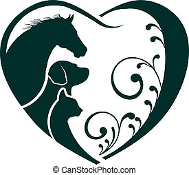 kat, hart, liefde, paarde, logo, dog