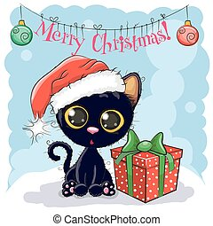 kat, hoedje, black , kerstman