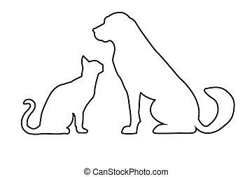 kat, hund, kontur