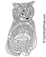 kat, kleuren, vector, voor, volwassenen
